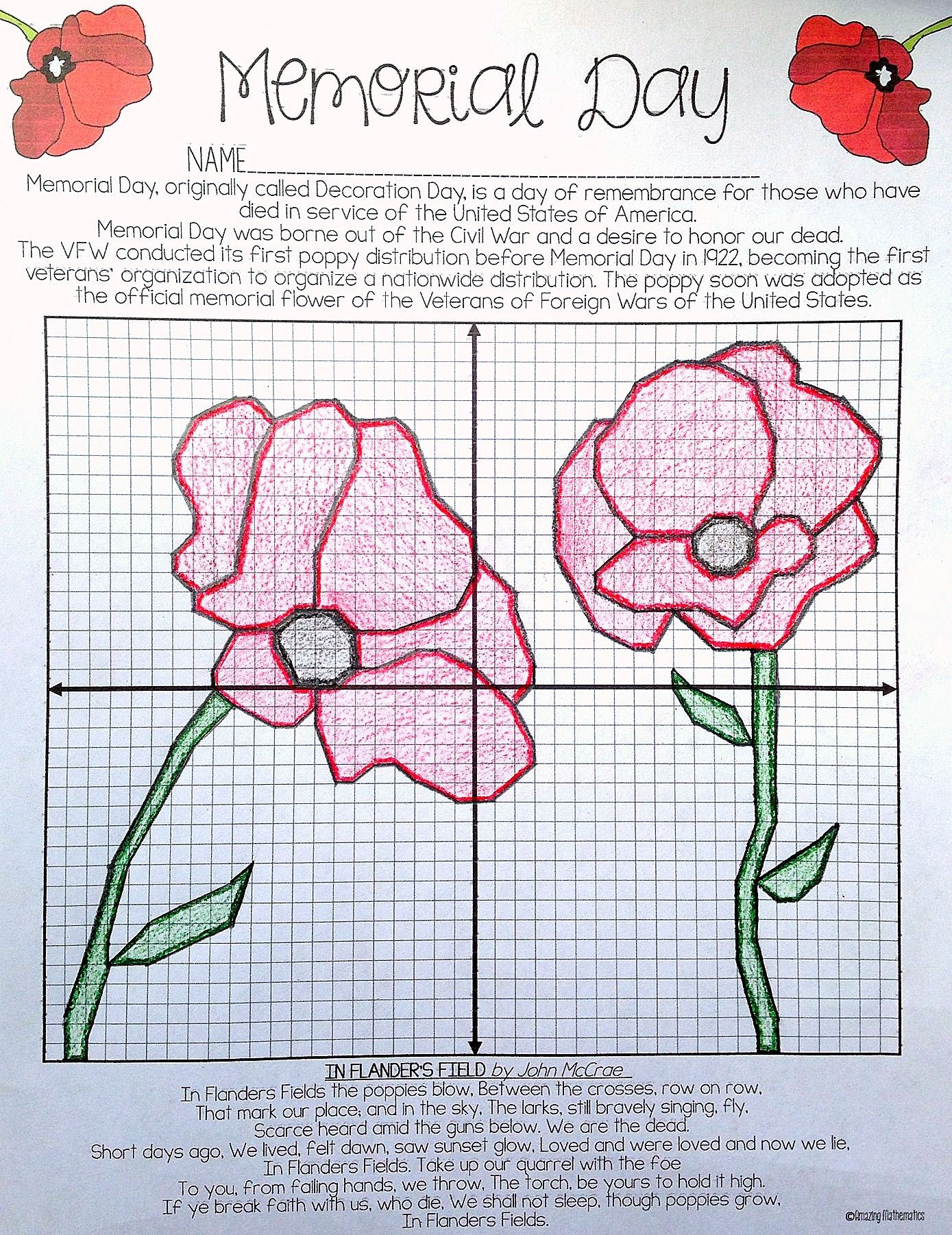 worksheet Winter Coordinate Graphing memorial day plotting points mystery picture end of year picture