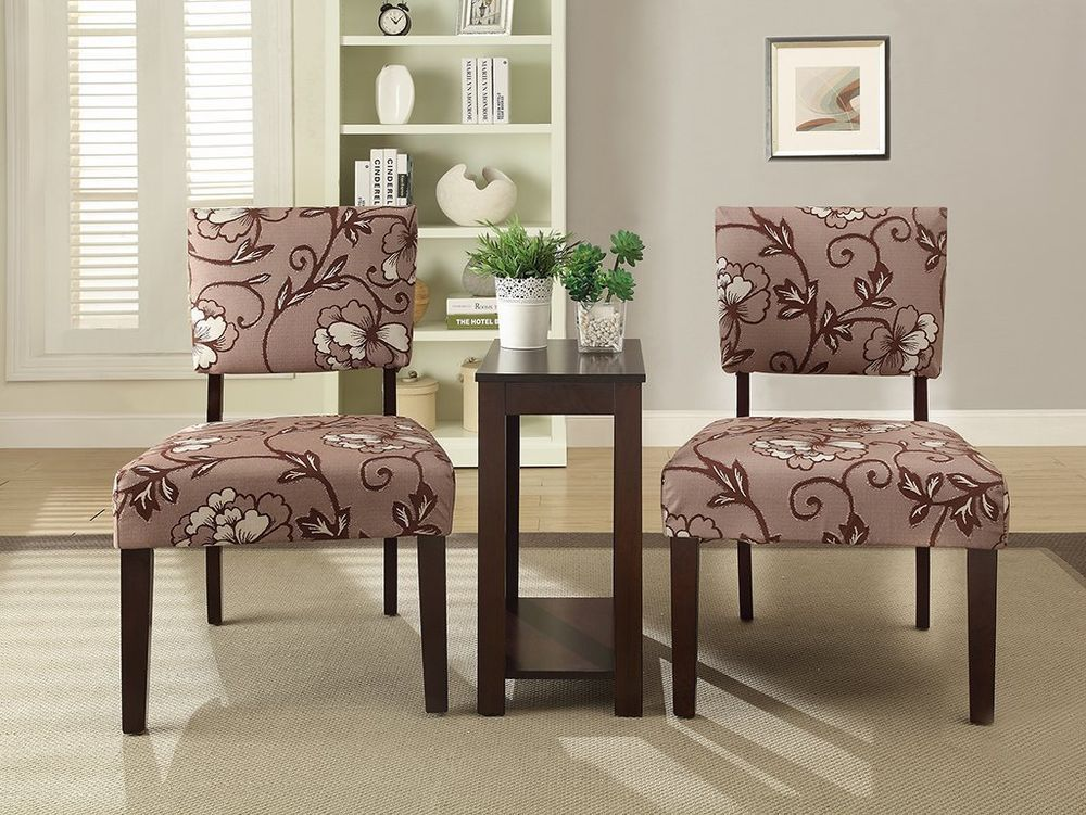 new 3-pc accent chairs & side chair table set large flower print