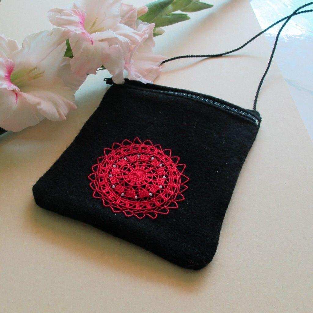 Little bag with hand made tenerifa lace. Lenka Veselá