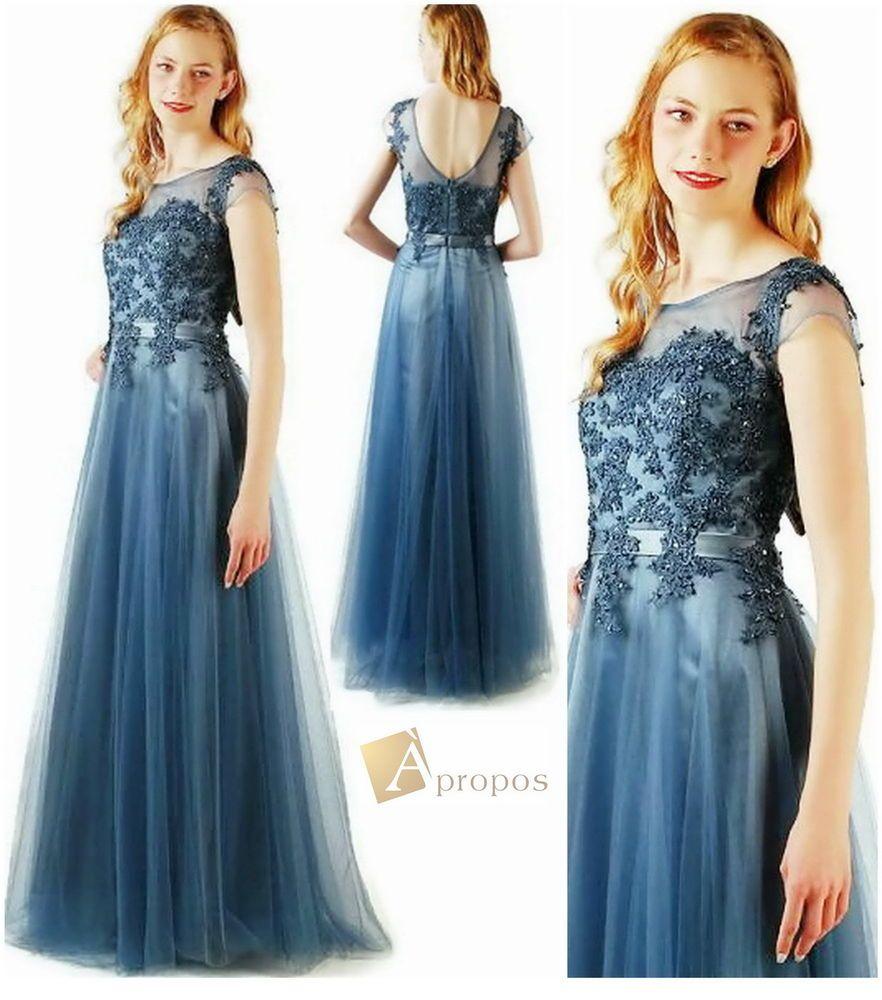 Coctailkleid Abendkleid Lang Blau Grau Perlen Pailletten Push Up