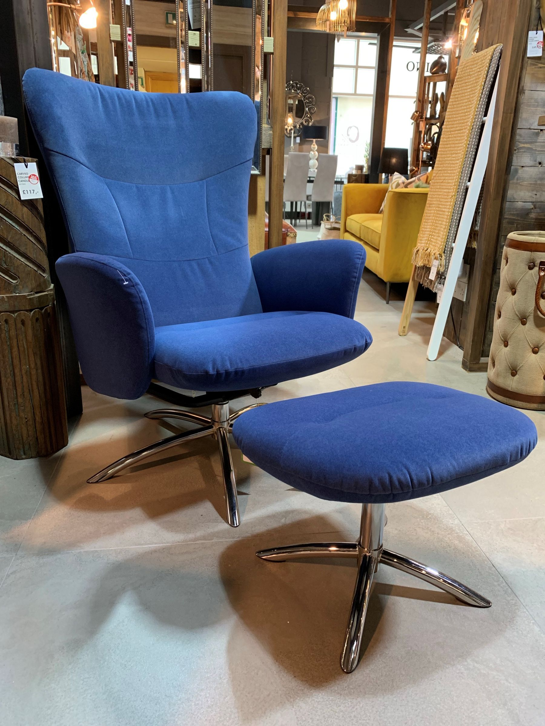 Hendrix Reclining Swivel Chair & Footstool Velvet Denim