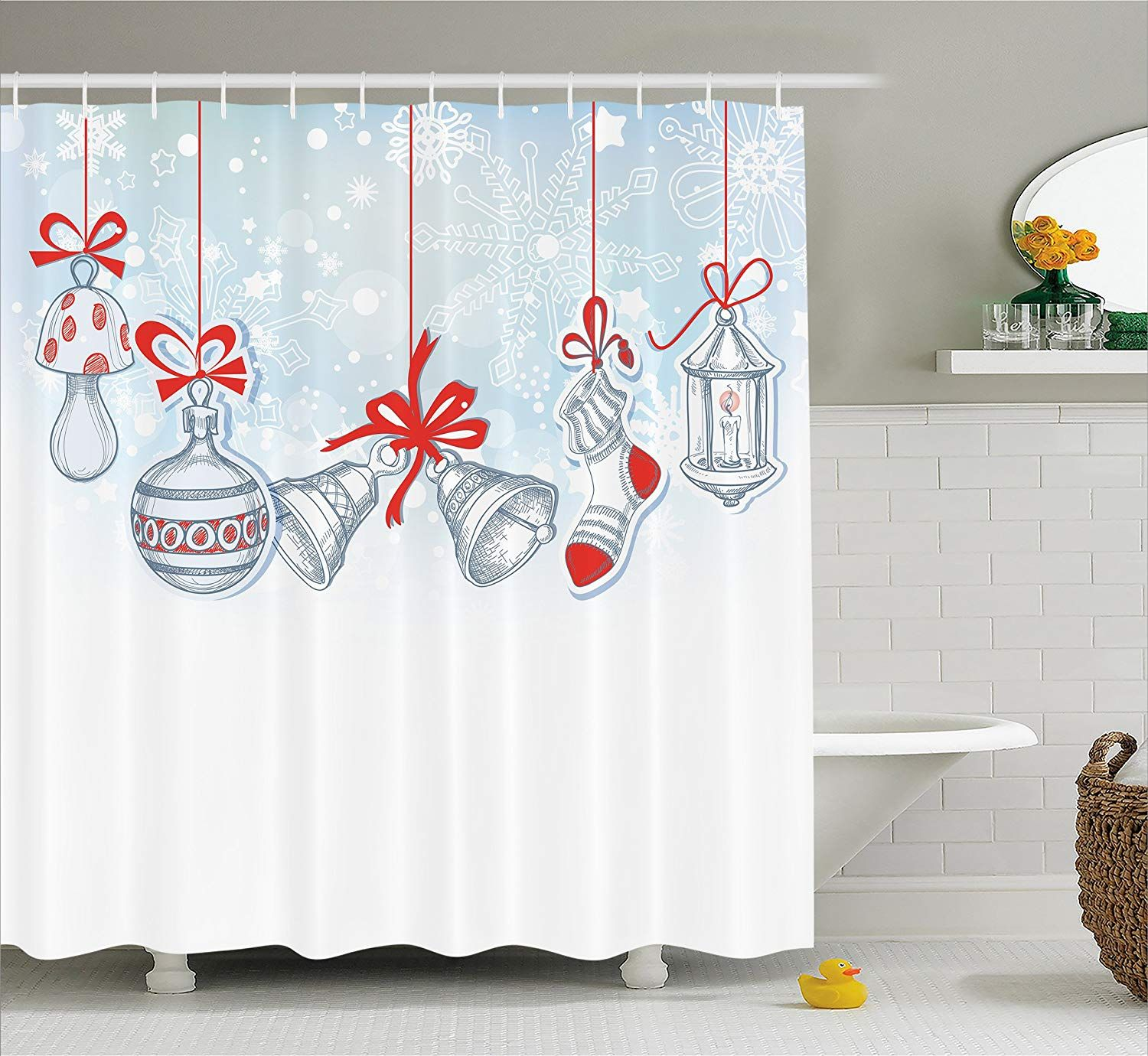 Amazon Ambesonne Christmas Shower Curtain Retro Decorations Vintage Style Famous Xmas Stockings For Toys And Candy Cane Bells Snowflake Graphic