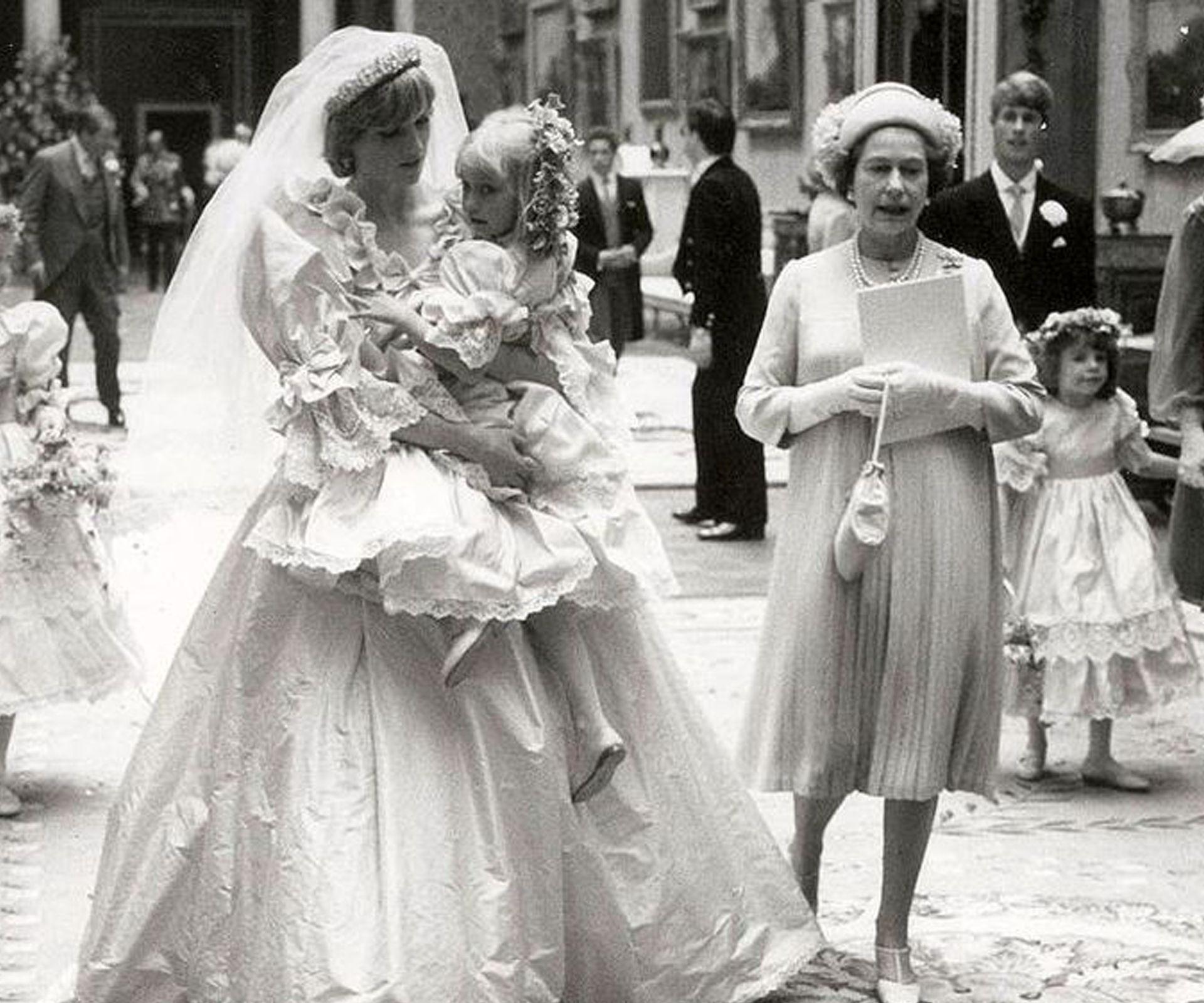 Princess Diana at the wedding reception held at Buckingham