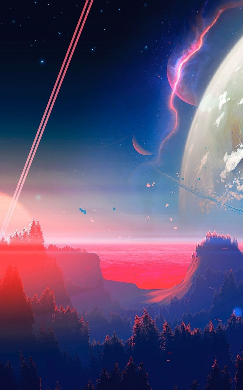 Outer Space Fantasy Horizon Planet Art Wallpaper Outer Space Art Outer Space Wallpaper Fantasy Landscape