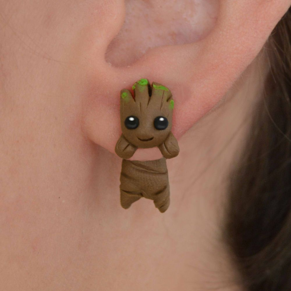 TTPAIAI 30 Cartoon Groot Stud Earrings Kids Jewelry Polymer Clay Cute Earrings Gift