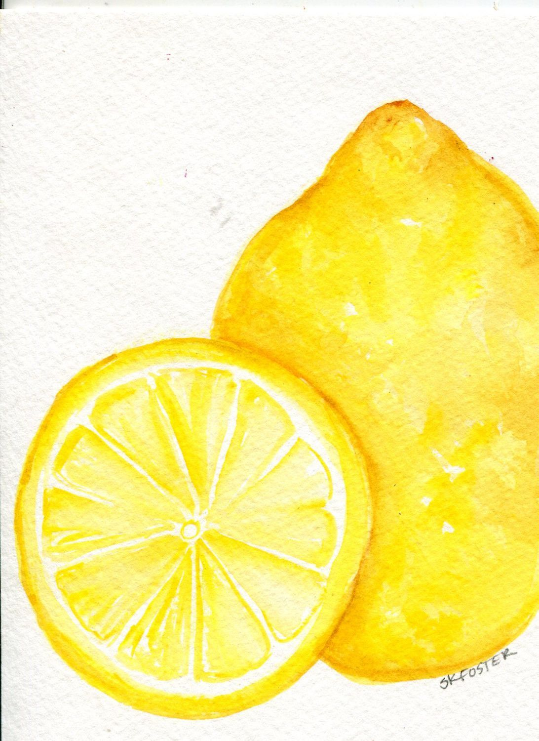 Lemons Watercolor Painting Original, Fruit Painting, Small Food ...