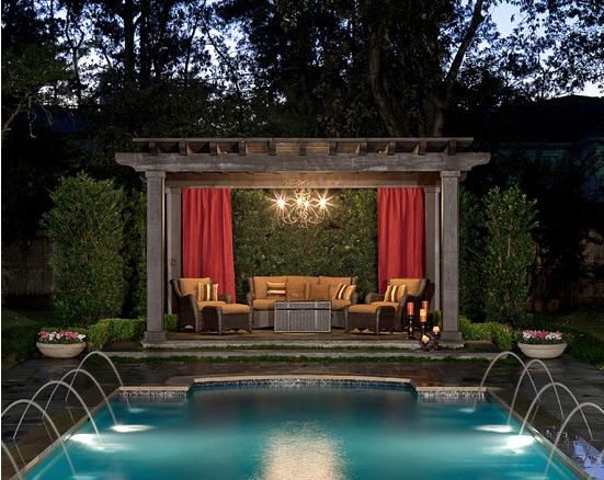 Pool Pergola Designs - Beautiful Landscape Design Of Pool Pergola To Enjoy With Sunbath