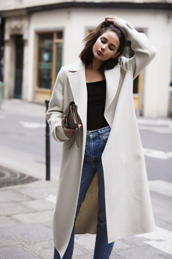 Cream Coat | Blue Jeans | Paris | Style | Outfit | HarperandHarley | The Armory in 2019 | Cream coat, Stylish coat, Fashion outfits