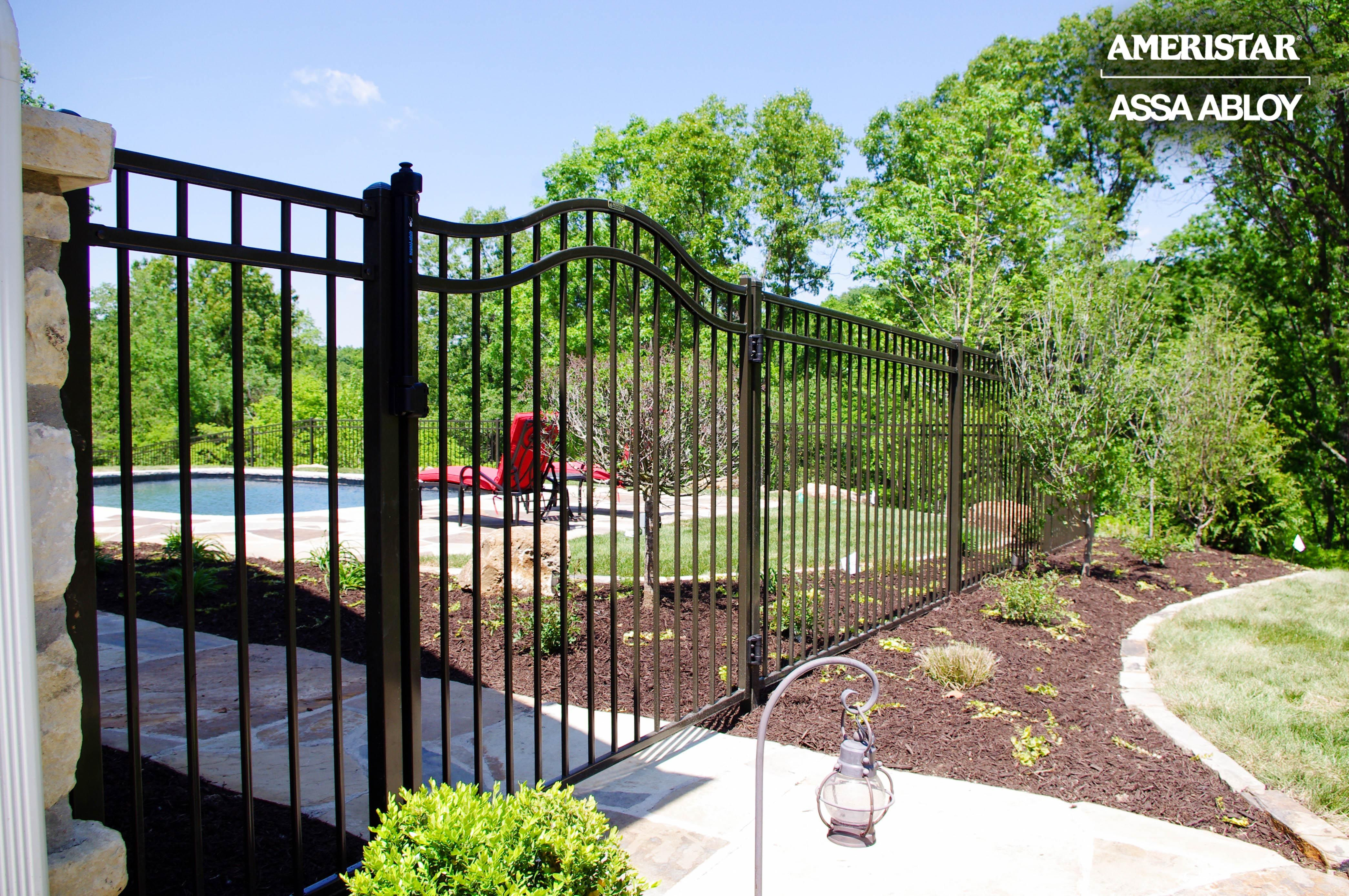Black Classic Wrought Iron Fence And Gate In Backyard Iron Fence
