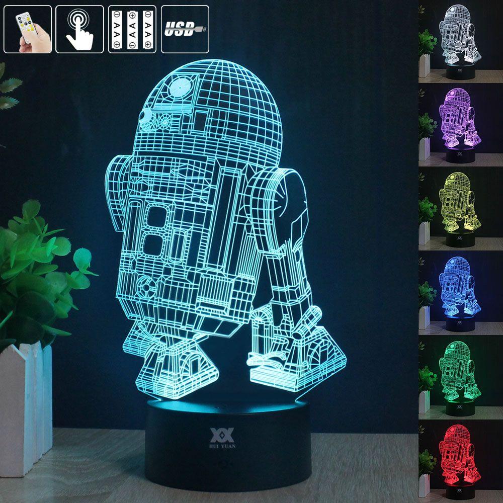 للحصول على حرية التحكم عن حرب النجوم مصباح 3d البصرية الصمام أضواء الليل للأطفال R2 D2 اللمس Usb الجدول امب الطفل النوم Star Wars Lamp Art Lamp Led Night Light