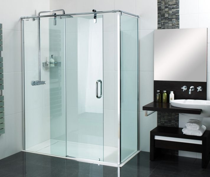 Sculptures Sliding Door Shower Enclosure installed to our stylish Infinity Shower Tray giving total level & Sculptures Sliding Door Shower Enclosure installed to our stylish ... Pezcame.Com