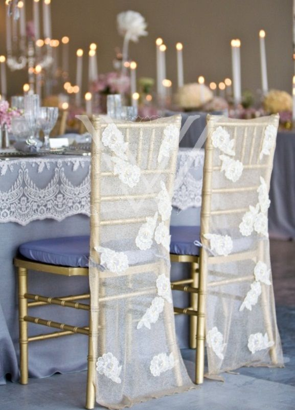 Elegant lace reception chair cover decoration by wildflower linen wedding chair decorations at weddings romantique we will be glad to help you create sophisticated table and reception design that matches your style and junglespirit Gallery
