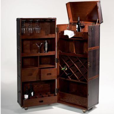 hemingway koffer-bar mit separatem tablett | hausbar, brillen und ... - Kleine Bar Im Wohnzimmer