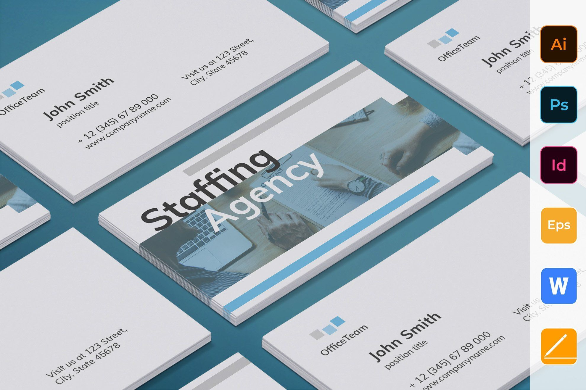 Staffing Agency Business Card Agency Business Cards Staffing
