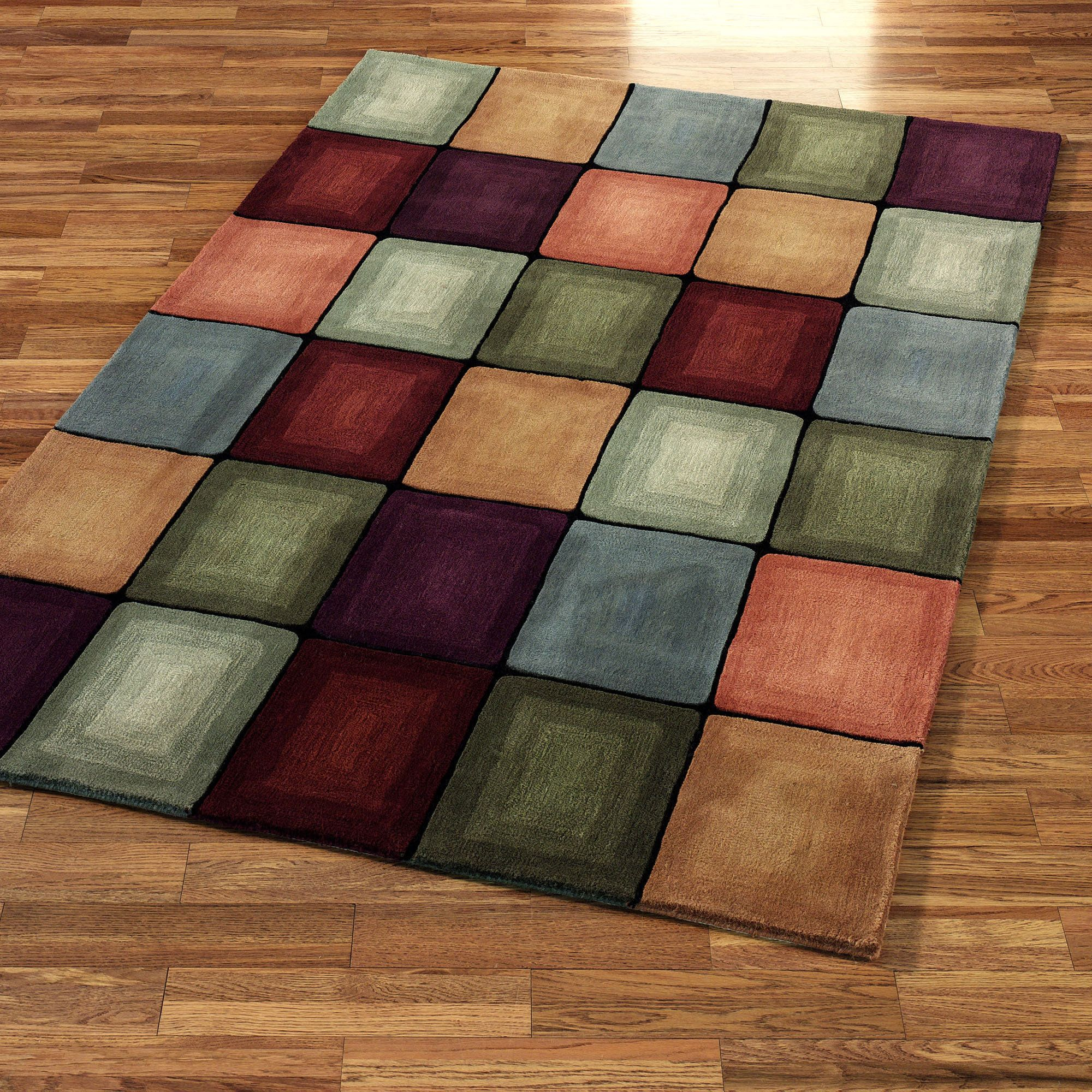 Best contemporary area rug colored squares contemporary for Area carpets and rugs