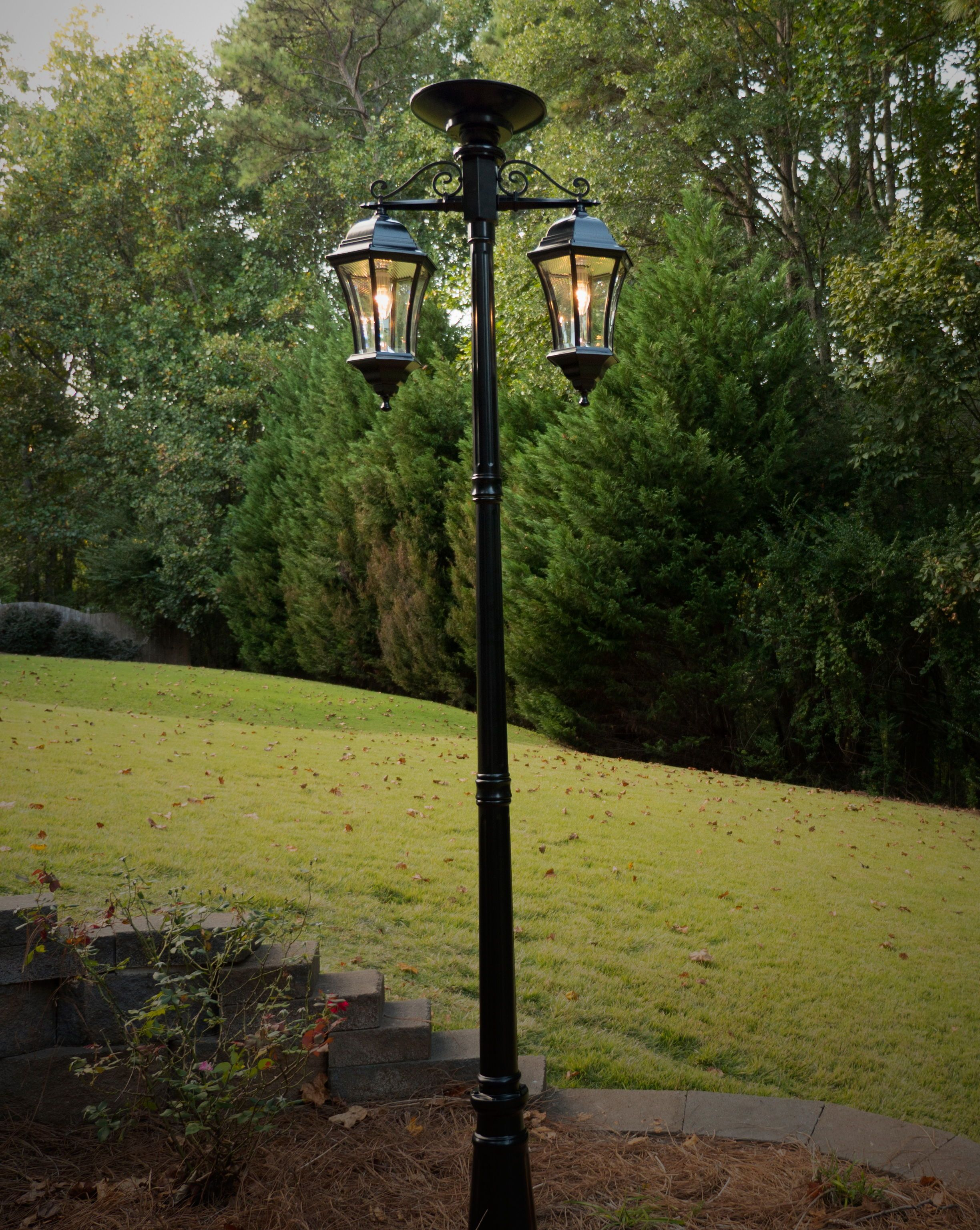 Solar Lamp Post Victorian Bulb Double Downward Hanging Solar Lamp Post Gs 94b Cd