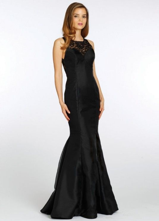 Mermaid Style Satin Long Black Bridesmaid Dress  01287fd702c9