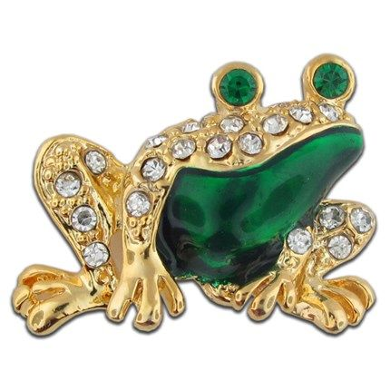 "Rhinestone Frog with Green Enamel, Small 7/8"" Gold plated setting with clear & emerald rhinestones. $6.95"