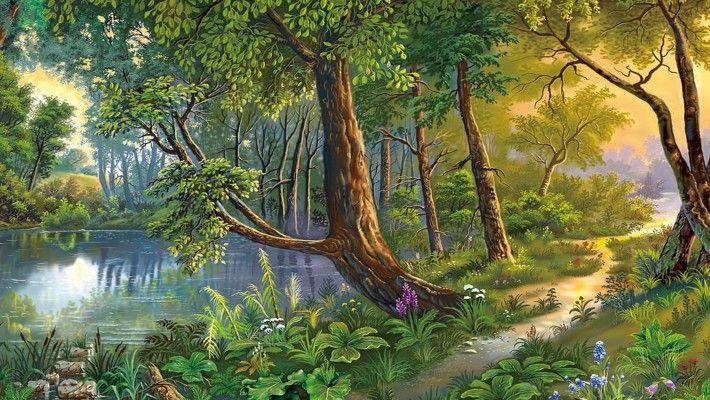 Beautiful Landscape Nature Art River Trees Flowers Hd Wallpaper 662918 Nature Paintings Landscape Paintings Art