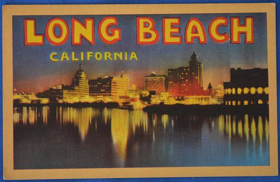 Long Beach California Large Letter Greetings Linen Postcard - letter greetings