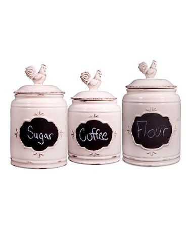 Antique Chalkboard Rooster Canisters Set Of Three Zulily