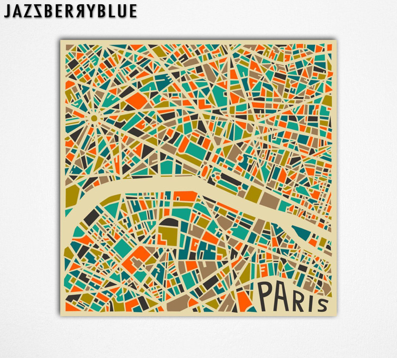 PARIS MAP (Giclée Fine Art Print, Photographic Print or Poster Print ...