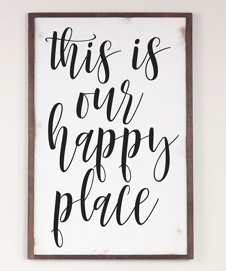 This Is Our Happy Place Cedar Framed Wall Sign
