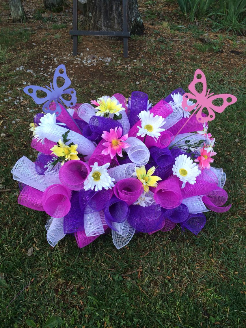 Headstone Saddle Flower Arrangements Diy Gravesite Decorations Headstones Decorations