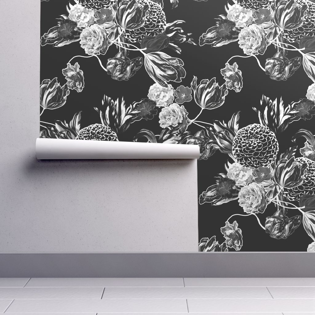 Mid Century Modern Floral Black And Wh Peel And Stick Wallpaper Powder Room Wallpaper Black And White Wallpaper