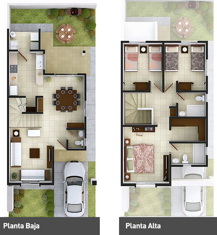 Small house two floor house plans pinterest - Distribucion piso 60 m2 ...
