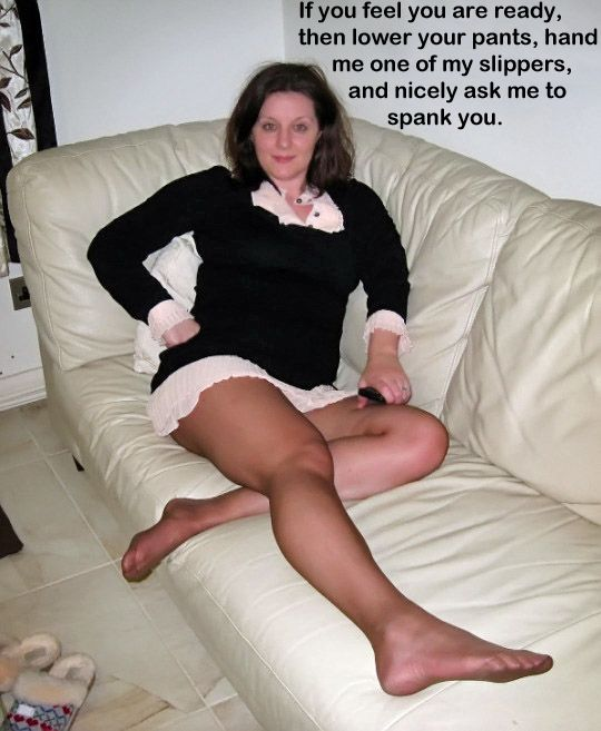 Spanked husbands wear pantyhose