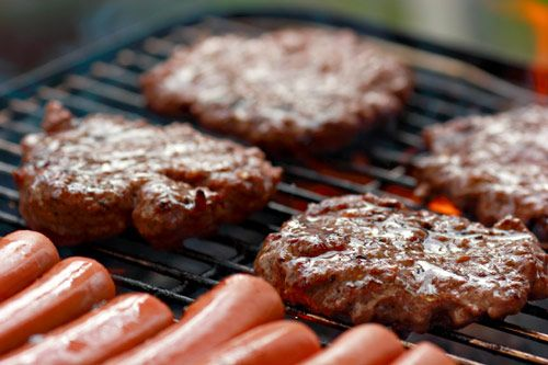 Burgers and Hotdogs on the Grill