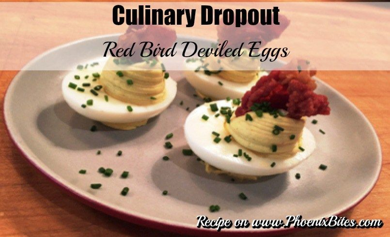 Culinary Dropout's Red Bird Deviled Eggs - Powered by @ultimaterecipe