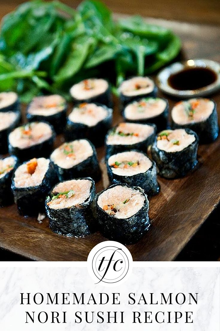 Homemade Sushi: Delicious Salmon Nori Sushi Rolls Recipe | Healthy Appetizer | Healthy Lunch | Healthy Dinner | Gluten-Free Recipe |