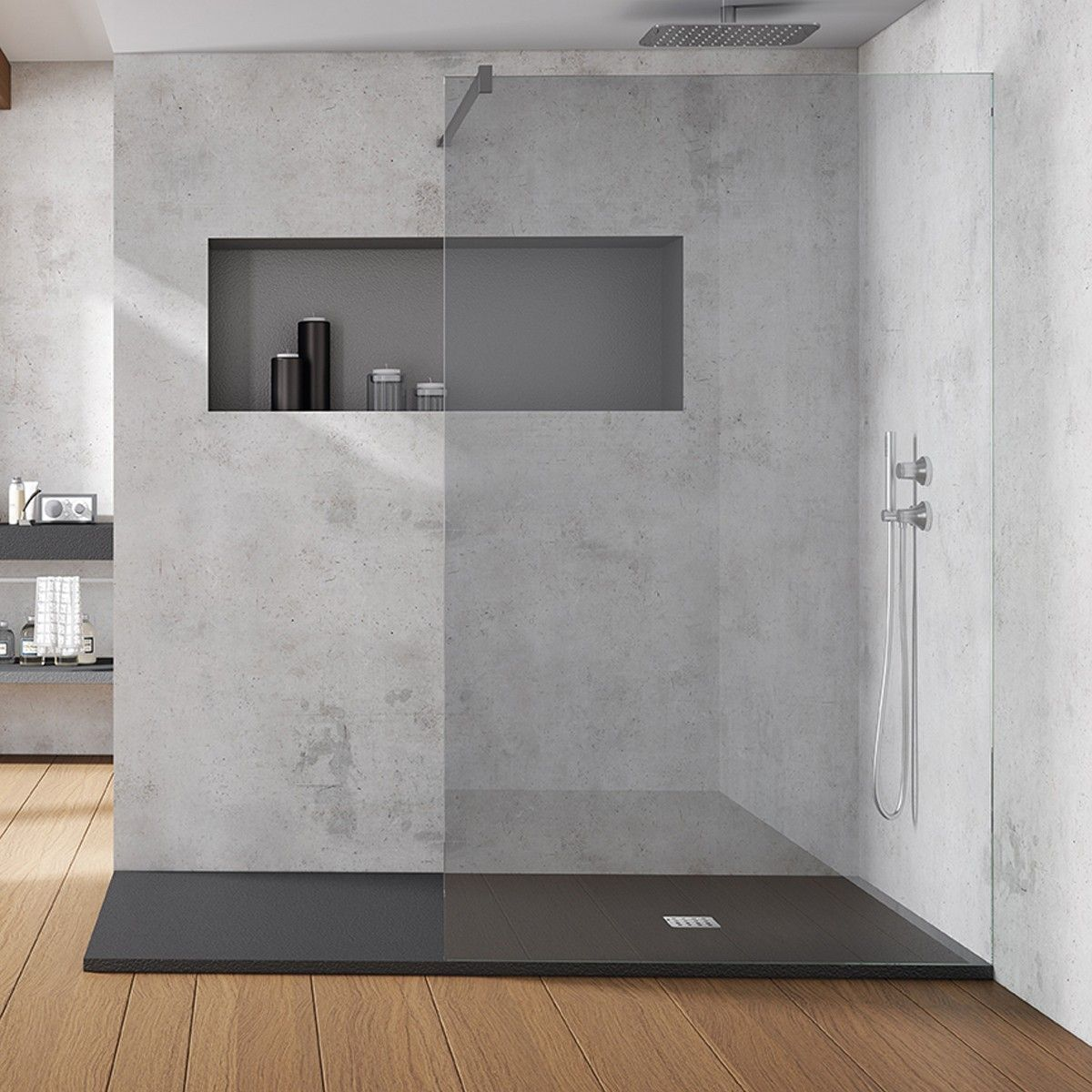 Acquabella base slate cemento xmm shower tray slate effect