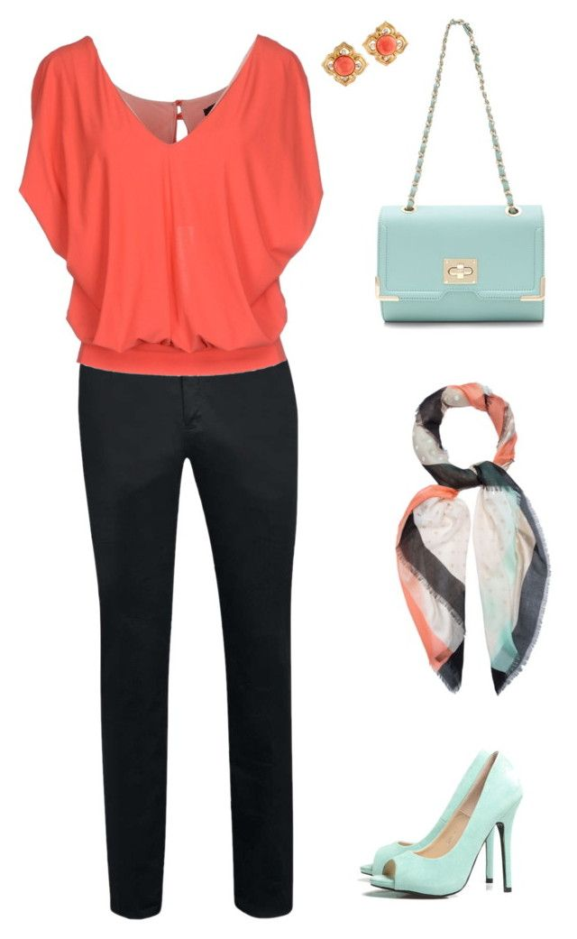 """""""Coral and Mint"""" by elizabethsusan on Polyvore featuring Pinko, AX Paris and Peter Rutz"""