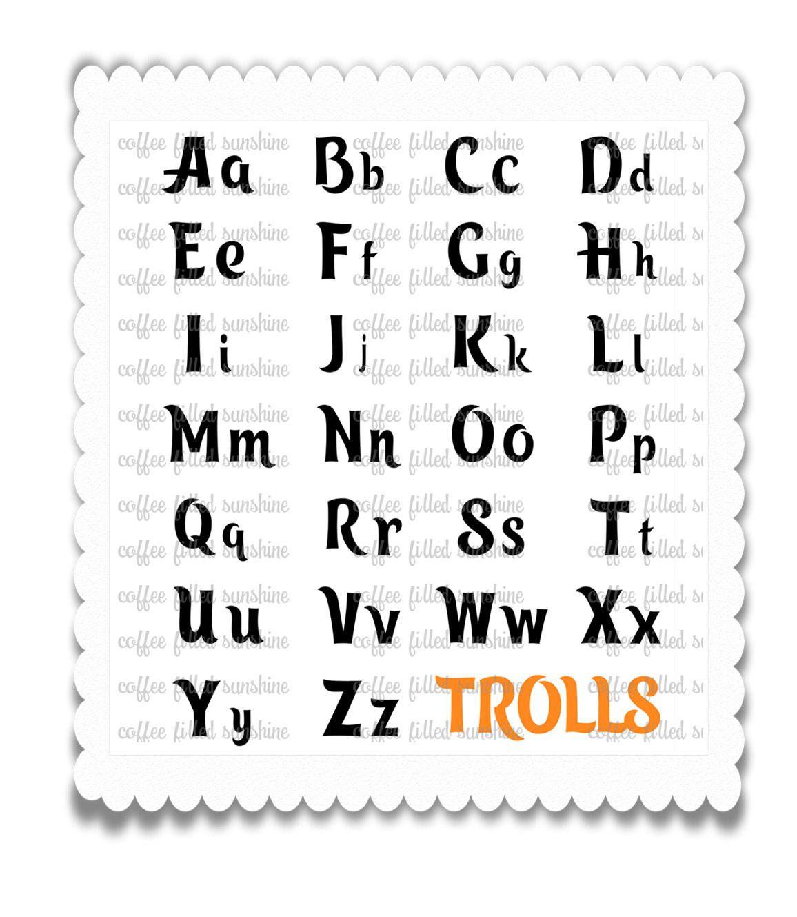 Trolls Svg Letters Digital Cut File Svg Font Trolls