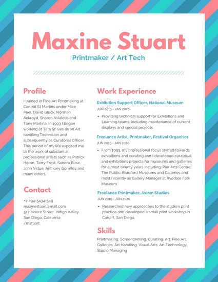 Colorful Lines Border Modern Resume Pink Blue Green Templates Sample