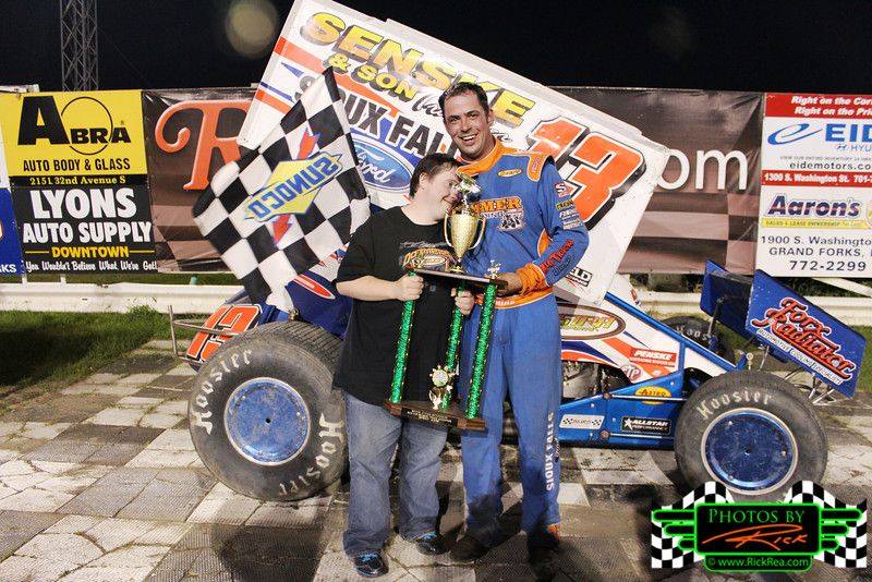 Mark Dobmeier In Rydellcars Com Victory Lane At River Cities Speedway With Chuck Who Is A Special Guy Who Really Looks Up Sprint Cars Monster Trucks Seasons