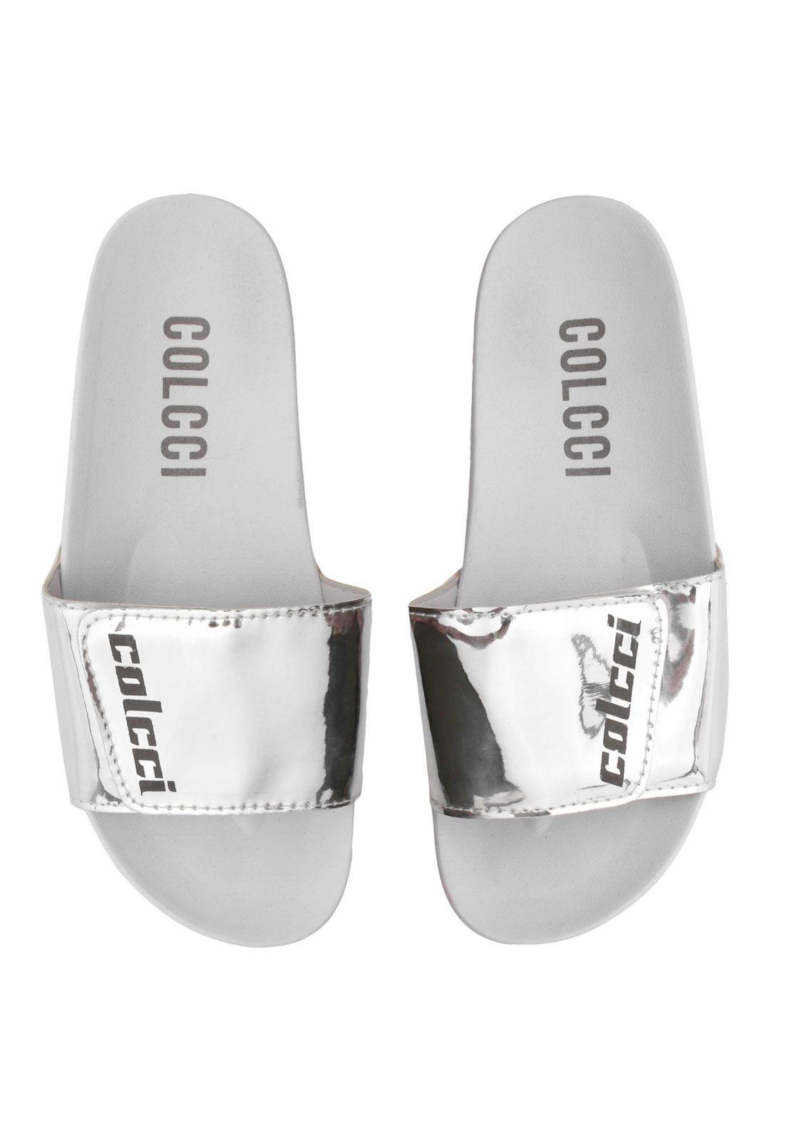 9cec639765 Chinelo Slide Colcci Metalizado Prata Branco em 2019