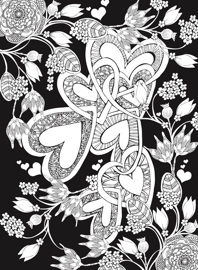 Creative Haven Hearts Coloring Book Romantic Designs On A Dramatic Black Background Welcome To Dover Love Coloring Pages Heart Coloring Pages Coloring Pages