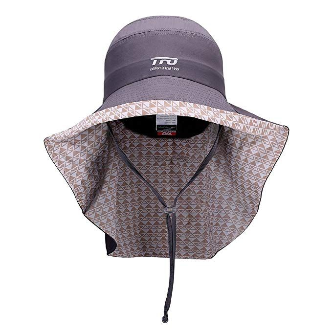 779715c3058 TFO Women Sun Hats Summer UV Protection Wide Brim Cap Cotton with Neck  Cover Cord Grey women s dress hats women s hat styles women s summer hats  women s ...