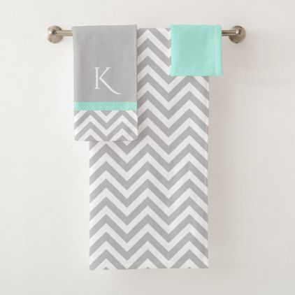 Mint Green Bath Towels Delectable Gray Chevron And Mint Green Bath Towel Set  Wedding Grey Wedding Decorating Design