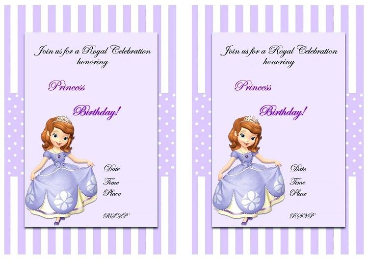 Sofia The First Birthday Invitations Blank Party Invitation Ideas