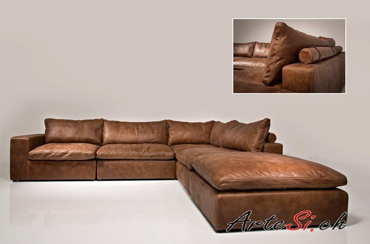 Tolles Dekoration Couch Grau Stoff #23: Tolle Ecksofa Leder Vintage
