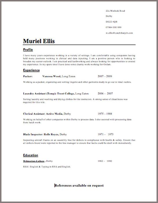 Free CV Template Download -   wwwresumecareerinfo/free-cv - example of simple resume for job application