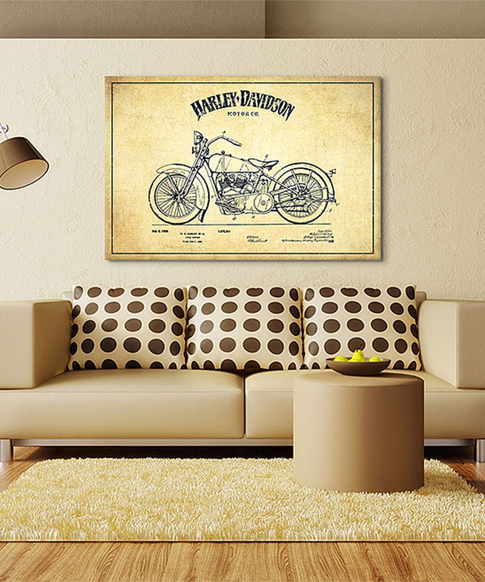 Loving this Harley-Davidson Vintage Patent Blueprint Canvas on ...