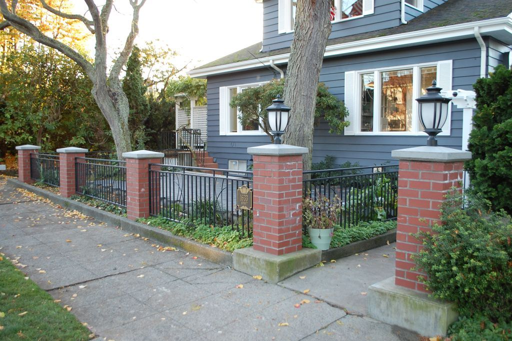 Exterior:Brilliant Half Front Yard Fences Ideas Using Black Iron Railing  Fence And Red Brick