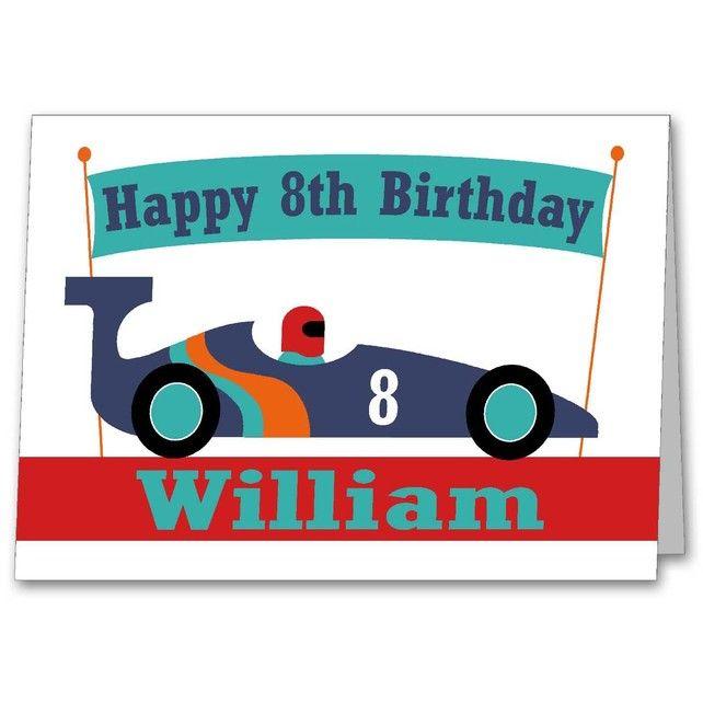 Boys Personalised Racing Car Birthday Card 3rd 4th 5th 6th 7th – Personalised Birthday Cards for Kids