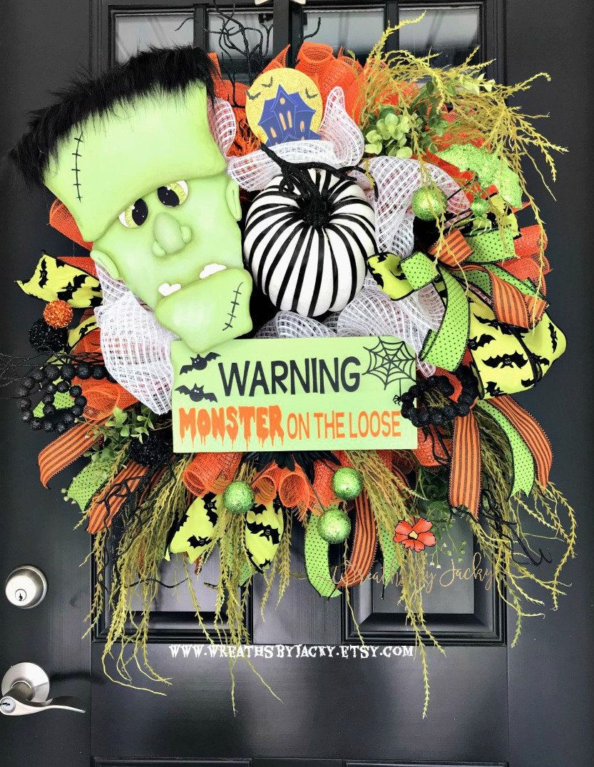 Frankenstein Wreath, Halloween Wreath, Frankenstein Decor, Whimsical - Whimsical Halloween Decorations